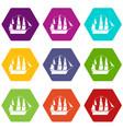 sailboat icons set 9 vector image vector image