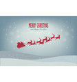 santa sleigh reindeer flying red silhouette merry vector image