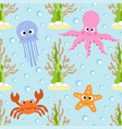 sea animals seamless background card vector image vector image