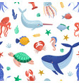 seamless pattern with funny marine animals or vector image