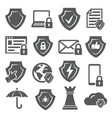 secure and shield icons on white background vector image vector image