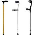 Set of orthopedic walking sticks on white backgrou vector image