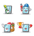 set of tablet character with beer plumber winner vector image vector image