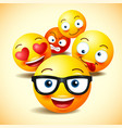 smiley face icons or yellow emoticons vector image vector image