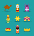 three wise men icons magic kins presents star vector image vector image