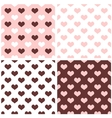 Tile hearts pink white brown background set vector image vector image