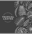 Tropical plants banner design hand drawn tropical