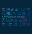 video game blue horizontal banner - linear vector image vector image
