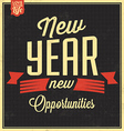Vintage New Years Typographic Background vector image