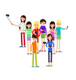woman selfie friends do joint self-portrait vector image