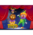 A clown with animals at the stage vector | Price: 1 Credit (USD $1)
