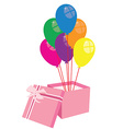 Box with balloons vector image