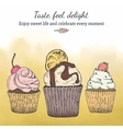 Card template with cupcakes vector image vector image