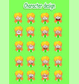 cartoon blond girl emotions set vector image vector image