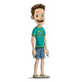 cartoon standing and smiling boy character vector image vector image