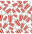 Classic red Coke paper cup seamless background vector image vector image