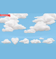 clouds cartoon sky 3d realistic icon set vector image