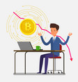 concept crypto currency businessman meditates vector image vector image