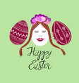 cute decorated easter eggs vector image vector image