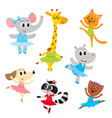 cute little animal characters ballet dancers in vector image vector image