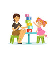 cute little girl learning alphabet letters through vector image vector image