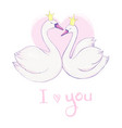 cute lovely princess swan on pink background vector image