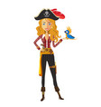 cute pirate girl with parrot vector image vector image
