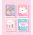 cute stamps cartoon clouds stars rainbow heart vector image vector image
