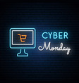 cyber monday neon signboard computer sign vector image vector image