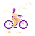 cyclist woman in sports wear and helmet riding vector image