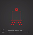 easel outline symbol red on dark background logo vector image
