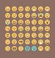 emoticons collection flat emoji set cute smileys vector image vector image