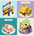 farmer market 2x2 design concept vector image vector image