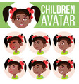 girl avatar set kid kindergarten black vector image vector image