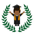 graduate student gown hat funny emblem vector image
