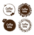 Grunge stamp with coffee time text inside Set of vector image