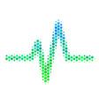 halftone blue-green pulse icon vector image vector image