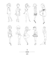 Hand drawn set with cute fashion girls in vector image vector image