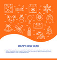 happy new year banner template in line style vector image vector image