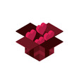 happy valentines day filled box with hearts love vector image