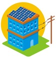 isometric solar house vector image
