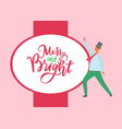 merry and bright greetings from man dressed in hat vector image vector image