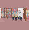 modern library interior empty no people bookstore vector image vector image