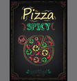 pizza spicy menu on chalkboard vector image