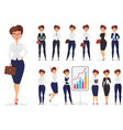 pretty cartoon businesswoman lady character vector image
