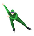 professional athlete skating in green uniform vector image