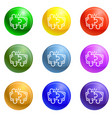 puzzle teamwork icons set vector image vector image