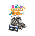 retro style disco attributes - zebra sneakers and vector image vector image