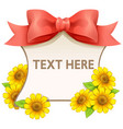 ribbon and flower frame vector image vector image