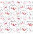 sale seamless pattern sketch red text in cloud vector image